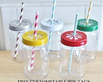 Plastic Mason Jars with Colored Daisy Lids favor Plastic Mason Jar Cups Mason Jar Tumblers Plastic Jars Plastic Mason Jar Glasses 10 ct 17oz