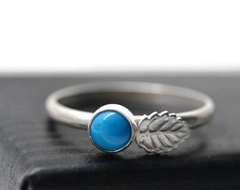Sleeping Beauty Turquoise Ring, Turquoise Jewelry, Silver Leaf Ring, Blue Berry Ring, Nature Jewelry,