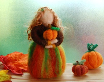 Waldorf Inspired Autumn Fairy. Autumn Harvest Doll. Needle Felted Doll. Fall Fairy. Felt Doll. Autumn Nature Table. Autumn Table Decoration