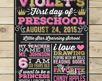 Girl 1st Day of School Sign - Pink and Gold First Day of School Chalkboard Sign - Back to School Sign - Princess 1st Day of Preschool Sign