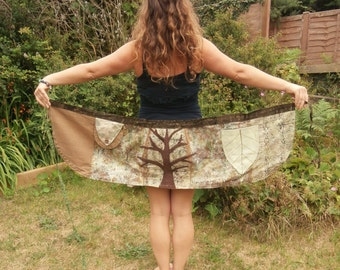 Tree Of Life wrap-around Skirt with pockets