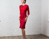 Red pencil dress with three-quarter sleeves, pencil dress, autumn fall fashion, sexy party clothing, red dress