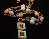 Stylish Long Blue and Copper necklace with Unique Sqaure and Spiral Aquatera Jasper Pendant and Amazonite Nuggets - The River - Boho Chic