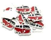 VW Bus Charms, 3pc Black and Red Camper Van Charms, 20x18