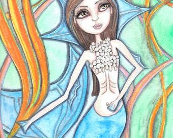 Mermaid artwork, big eyes girl, print, sea creatures, siren, tritan, sea sprite, mint green blue orange colors