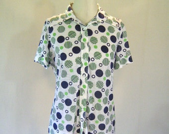 Jantzen Green & Blue Polka Dot Shirt Top