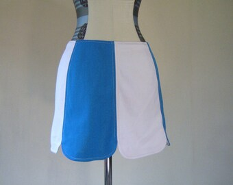 1960s Mod Blue & White Mini Go-Go Skirt