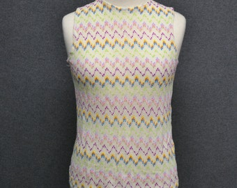 1960s Sheer Chevron Knit Sleeveless Tank