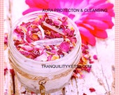 Aura Protection Candle ,  Cleansing Candle  , Red & Clear Crystal Quartz , Sacred Space, Blessed , Smudging Purification, By: Tranquilityy