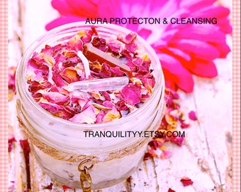 Aura Cleansing Candle , Protection Soy Wax  , Red & Clear Crystal Quartzs , Essential Oils ,Dry Flowers , Purification, By: Tranquilityy
