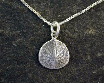 Sterling Silver Pacific Sand Dollar Pendant on a Sterling Silver Chain