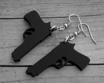 Black Gun Earrings Black Gun Jewelry Pistol Handgun Shotgun Punk Rock n Roll Rocker Rock and Roll Heavy Metal Southern Country Girl Cowgirl