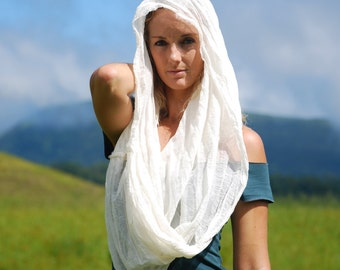 Gauze Infinity Scarf - Light Weight Scarf - Wrap - Natural Color Summer Scarf - Shawl - Rustic - Festival