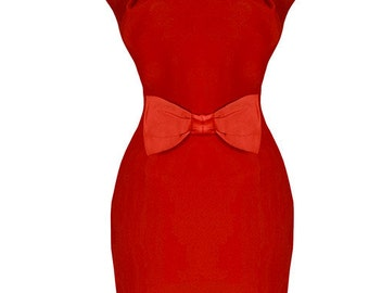 Brand New Vintage Style Brenda Red Pencil/Wiggle Dress Pin Up Rockabilly