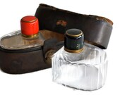 Travel Flask Decanters in Leather Case / Enameled Brass Tops / Collectible / Travel Essential / c1940s
