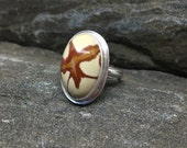 Owyhee Jasper Ring size 8.5, High Dome Jasper, Handmade, Sterling Silver, Made in New Hampshire, Modern Ring, Made in USA, Stone from Oregon