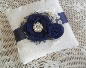 Navy Ring Bearer Pillow, Lace Ring Pillow, Wedding Accessory, Ring Bearer Pillow, YOUR CHOICE COLOR, Blue Ring Bearer Pillow, Something Blue