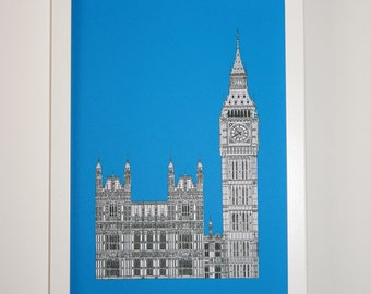Picture of London, London Print, London Art, Big Ben drawing, London illustration, art print, England, Illustration of London