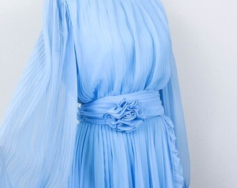 SALE//Stunning 1970s Miss Elliette Blue Ruffled Chiffon Dress/ Sheer Boho Accordion Pleat Floral Cummerbund Dress/ Size Medium M