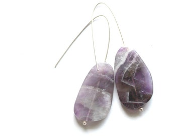 hudge amethyst earrings- purple nature jewelry- chunky amethyst earrings- eco friendly yoga jewelry- zen jewelry- mother earth earrings