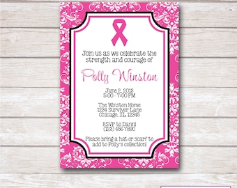 PINK RIBBON. Breast Cancer. Think Pink. Party Invitation. Printable.