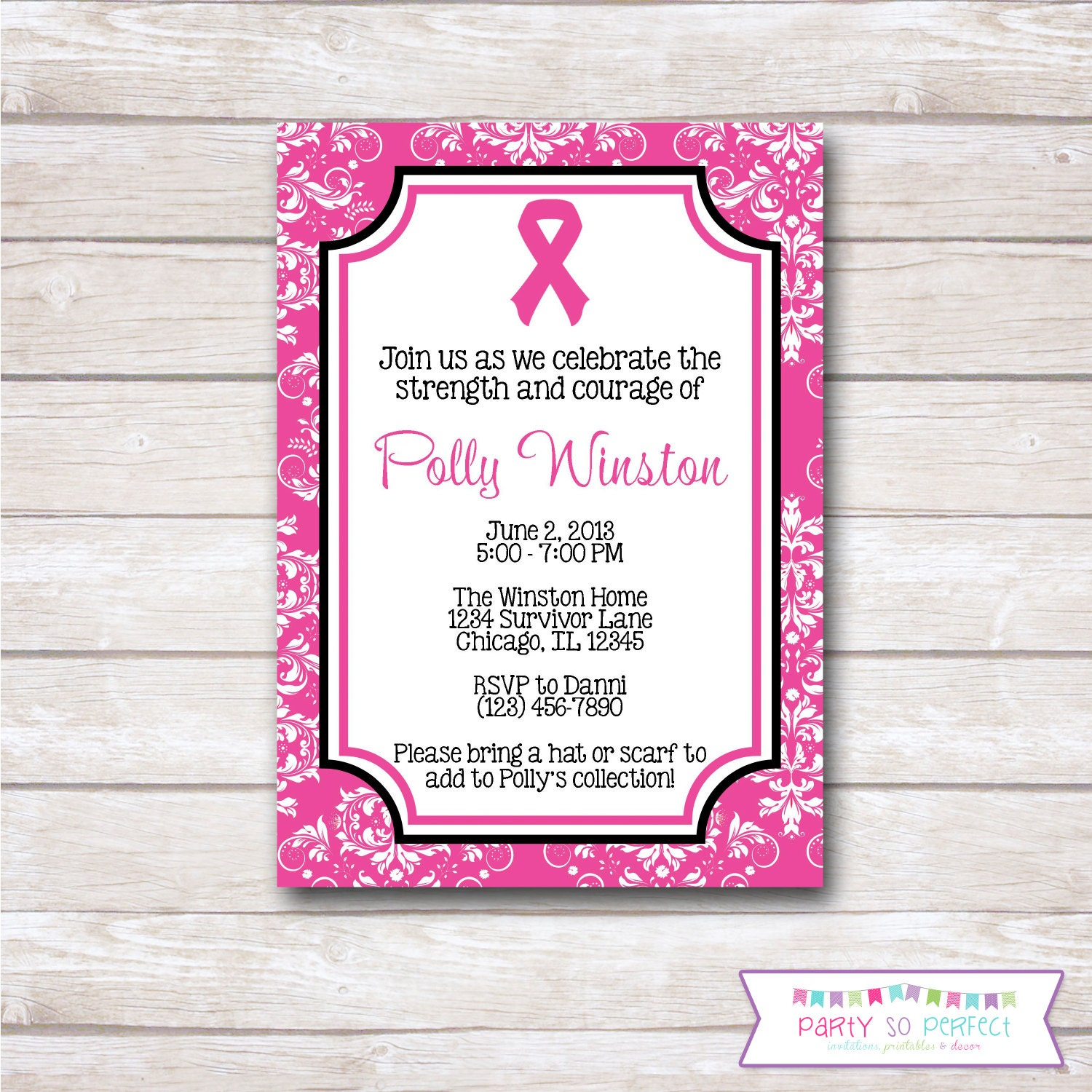PINK RIBBON. Breast Cancer. Think Pink. Party Invitation.