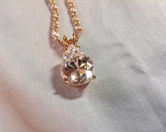 Rhinestone Necklace, pear rhinestone, Pear Shaped Pendant Necklace, German necklace, pear pendant necklace