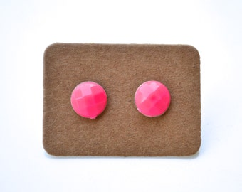 Hot Pink Faceted Rounds . Studs . Earrings