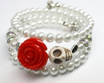 Sugar Skull Bride Bracelet White Pearls and Red Rose