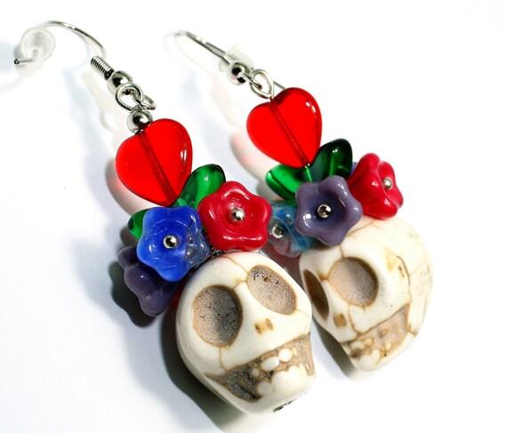 Frida Kahlo Day of the Dead  Muertos Flower Head Turquoise Skull & Flower Earrings