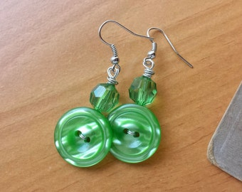 Green Button Dangle Earrings with Green Moonglow Vintage Buttons, Unique Earrings, Holiday Earrings