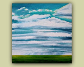 """Oil Painting - """"OMINOUS CLOUDS"""" - 18""""X18""""X1-1/2"""" Original Oil on canvas - signed by the artist"""