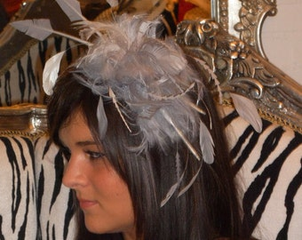 Dutch couture on Kate Middleton inspired silver grey feather fascinator / headband