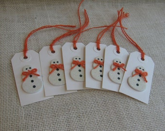 Winter Snowman Gift Tags, Set of SIX, Orange & White Snowman Tags, Treat Sack Tags, Holiday Gift Tags, Gift Embellishment SnowNoseCrafts