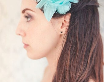 Gorgeous Turquoise feather bridal hair piece
