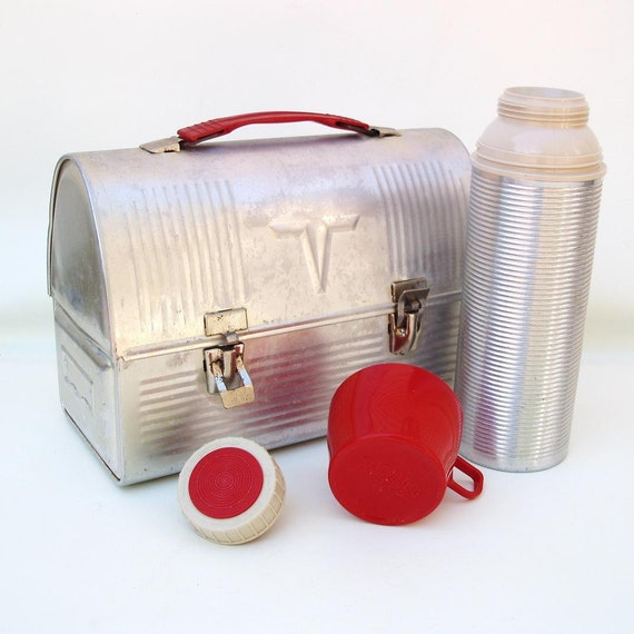 1960s Silver Metal Lunch Box Aluminum Domed Lunchbox Thermos