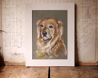 Vintage Golden Retriever Dog Portrait - Original Art by Mel Tiess