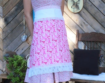 Lacey Pink Dog Bone Print Half/Cottage Chic Apron