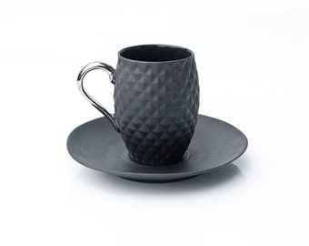 Ceramic Cup Set - Black Cup and Saucer - Pineapple Cup - Decorative Espresso Set - Ceramic Coffee Set