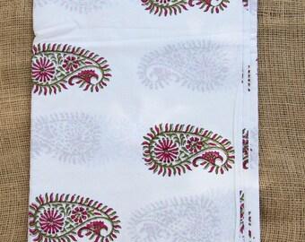 "Berry & Green Paisley Hand Block Print 100% Cotton Fabric, 1 yard x 45"", Traditional Border Printed, Fashion Supply, Sewing, Craft Supplies"
