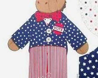 "Democratic Fabric Donkey American Flag DOLL + CLOTHES Fabric Panel - BIG 24"" Doll"