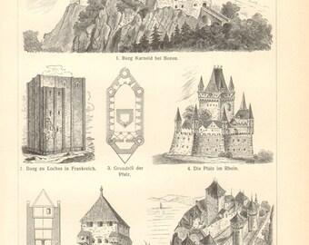 1903 Medieval Castles, Karneid Castle, Château de Loches, Château de Chillon, Eltz Castle, Wartburg Castle, Marienburg Castle Vintage Print