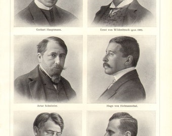 1910 Portraits of Famous Authors, Poets, Dramatists and Novelists Vintage Print