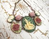 Artemis Necklace- Sage & Pink Cameo Bib - Modern Victorian by SPDJewelry