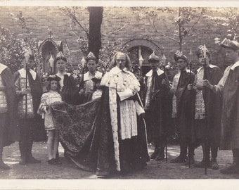 His Royal Majesty, The King- 1910s Antique Photograph- Fairytale Costumes- Kingsgurard Knights- Real Photo Postcard- RPPC- Paper Ephemera