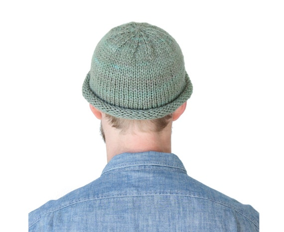 Fisherman Beanie in Hand Dyed Lichen, soft green men's wool cap