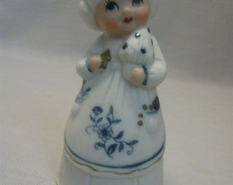 Porcelain Bisque Jasco Royal Majestic Bell Little Girl Blue & White 1980