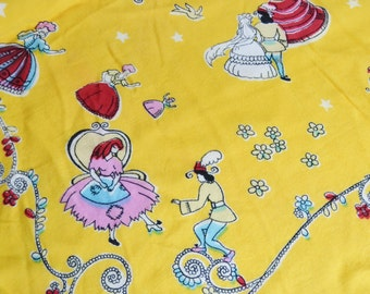 Vintage Cinderella Scarf in Yellow and with Frayed Edges