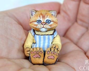 Cat Art Doll, OOAK Original Ginger Tabby Persian Kitten, Miniature Hand Painted Folk Art Figurine Sculpture, Otis by Max Bailey