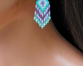 Mint Green Purple and White Earrings - Short Length Fringe - Beaded Lightweight - Seed Bead Earrings - 2 Inch Long